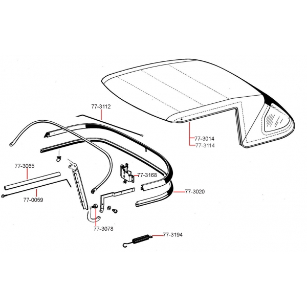 CONVERTIBLE TOP SIDE TENSION CABLE