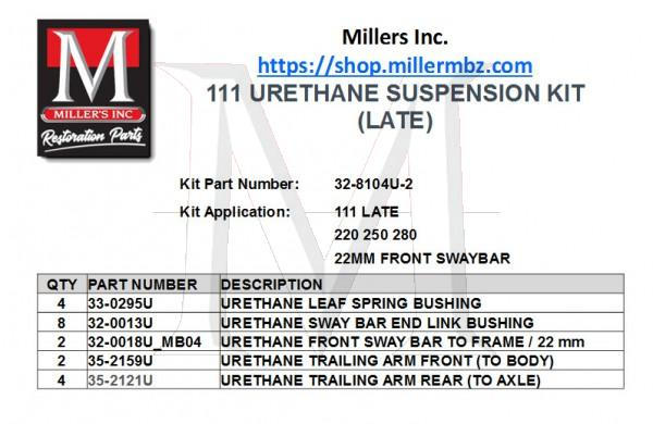 111 URETHANE SUSPENSION KIT (LATE)